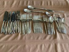 """New listing Roger Bros 1847 silverplate flatware """" Magic Rose"""" 9-10 place 61 Pc w/extras"""