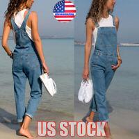 Women's Denim Jeans BIB Pants Overalls Straps Jumpsuit Rompers Ripped Trousers