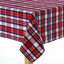 "Americana Farmhouse Tablecloth Red White & Blue 100% Cotton Seersucker 70"" ROUND"