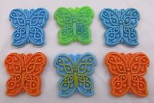 Lot Of 6 Plastic Butterfly Refrigerator Magnets 3 Blue, 2 Orange and 1 Green