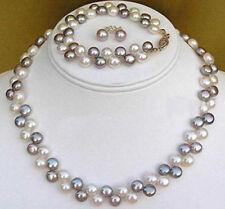 Genuine Black White Flat Akoya Cultured Pearl NecklaceBracelet Earrings Set
