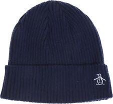 Original Penguin Basic Rib Beanie Navy Stylish Winter Fashion Hat Mens Womens