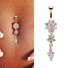 Sexy Crystal Flower Dangle Navel Belly Button Ring Bar Body Piercing JewelryGold