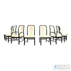 Asian Modern Black Lacquer Dining Chairs by Drexel Heritage (8) MONT VINTAGE MCM