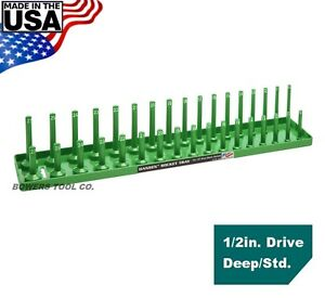 "Hansen Global 1/2"" Drive Socket Tray Holder Metric MM Standard Deep USA Green"