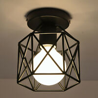 Industrial Vintage Iron Cage Ceiling Pendant Light Holder Lamp Shade Fixture E27