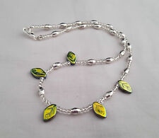 Silver seed bead necklace with green Czech glass leaves - 1001756