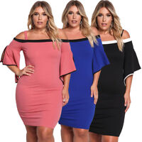 Plus Size Cold Shoulder Bell Sleeve Bodycon Casual Cocktail Evening Party Dress