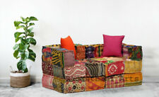 Bohemian Floor Sofa Indian Kantha Patchwork Modular Sofa Multicolored Ottomans