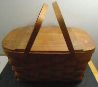 VINTAGE WOV-N-WOOD BY JERYWIL RUSTIC 2 HANDLE PICNIC BASKET 18""
