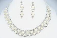 Weiße Muschel Perle Einstellbar Halskette Clip auf oder Ohrstecker Set Braut Hochzeit
