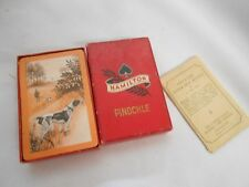 vintage Hamilton Pinochle playing cards w instructions Hunter man & dogs scene