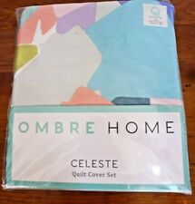OMBRE HOME CELESTE QUEEN QUILT COVER SET