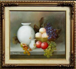 Illegibly Signed Fruit & Porcelain Detailed Still Life Oil Painting NO RESERVE