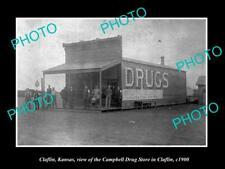 OLD LARGE HISTORIC PHOTO OF CLAFLIN KANSAS, THE CAMPBELL DRUG STORE c1900