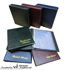 More details for classic coin / medal / banknote album & sleeves, blue red or green -add slipcase