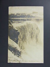 Horseshoe Falls in Winter Niagara Falls New York NY Real Photo Postcard RPPC1919