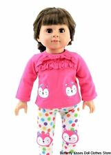 Fox Ruffle Pink Top + Polka Dot Leggings 18 in Doll Clothes Fits American Girl