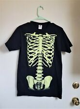 skeleton glow in the dark tee shirt size small black
