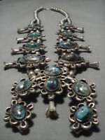 BISBEE TURQUOISE STERLING SILVER VINTAGE NAVAJO SQUASH BLOSSOM NECKLACE OLD