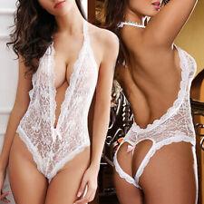 UK Women Sexy Lingerie G-string Nightwear Lace Dress Babydoll Underwear Bra Set