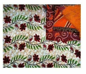 Indian Vintage Kantha Floral Leaf  Bedspread Reversible Cotton Handmade Quilt