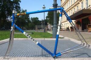 Vintage 1980s BASSO Italy Road Bike Chromed Columbus Steel Frame + Fork 59cm