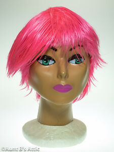 Wig Short Layered Hot Pink Punkette Synthetic Hair Wet Look Costume Wig