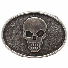 "Skull Head Trophy Belt Buckle Antique Nickel 6003-21 USA 3"" x 2"""
