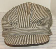 Vintage Hickory Stripe Denim Railroad Hat! Selvedge! Visor! Unusual Style! 2Xl