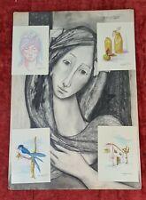 COLLECTION OF 5 DRAWINGS. MIXED TECHNIQUE. MARIA JESUS DE SOLA. XXTH CENTURY.