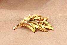 Vintage J.J. Jonette Leaf Brooch Pin Gold Tone