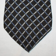 NEW Nautica Silk Neck Tie Black with Blue and Silver Plaids 1497