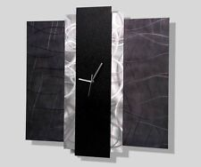 Abstract Black & Silver Modern Metal Art Wall Clock - Time Eternal by Jon Allen