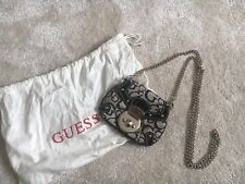 Authentic GUESS black and beige mini silver chain bag