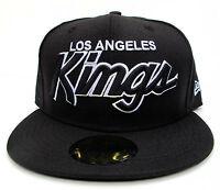 LA Kings Black On Black Fitted Cap Hat NHL New Era Size 7 1/8