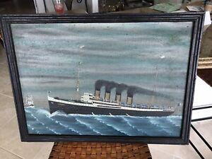 Antique American Folk Art STEAMSHIP Oil Painting on Canvas W/Original Wood Frame