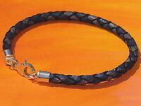 Ladies/ mens 4mm Antique Navy leather & sterling silver bracelet - Lyme Bay Art.