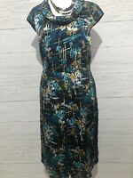 Laura Ashley Blue Teal and Yellow Floral Satin Print Midi Dress Size 12
