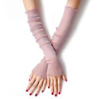 Summer Thin Long Sleeve Mesh Ice Silk Gloves Cuff Sun Protection Arm UV Block