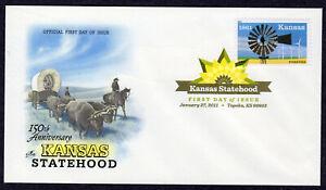 2011 Kansas Statehood 150th (4493) - Artcraft DCP Pictorial FDC PX106