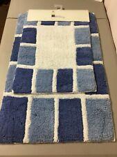 Chesapeake Merchandising  Mosaic 2 pc. Bath Mat Rug Set MilkNavy #52V