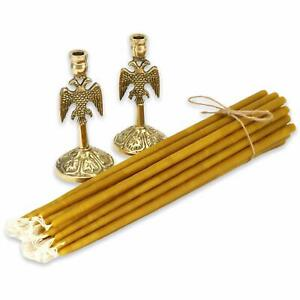 """100% Pure Beeswax Taper Church Candles 20 pcs (9"""") + 2 Brass Candle Holders"""
