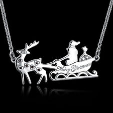 18k 18CT White Gold Filled CZ Christmas Deer Sled Pendant Necklace N581 Gift
