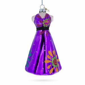Purple Dress Glass Christmas Ornament