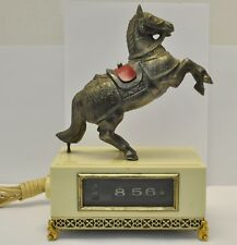 RARE Vtg. Japanese Electric Flip Alarm Clock w/ Armor Horse on Hind Legs Figure