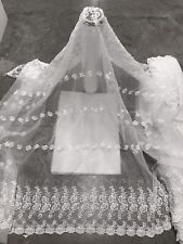 """WHITE ORGANZA BEADED EMBROIDERY  BRIDAL LACE FABRIC 50"""" WIDTH SOLD BY THE YARD"""