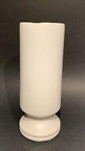 """Vintage McCoy Pottery Floraline 10"""" Matte White Footed Cylinder Vase #412"""