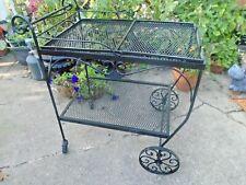 Mid Century Modern Wrought Iron Serving Bar Tea Garden Mesh Cart Salterini Style