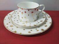 DESSERT And COFFEE Ser BY SAKURA CHRISTMAS GALAXY FINE PORCELAIN 14K GOLD STARS
